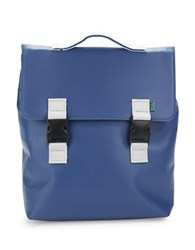 M R K T Carter Faux Leather Backpack Blue