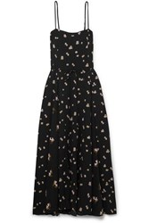 Vince Floral Print Crinkled Crepe Midi Dress Black