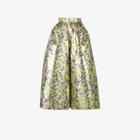 Delpozo Floral Print Cropped Wide Leg Trousers Yellow And Orange