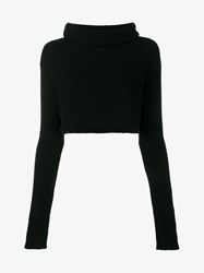 Valentino Wool Cashmere Blend Ribbed Cropped Sweater Black Salmon Cream White