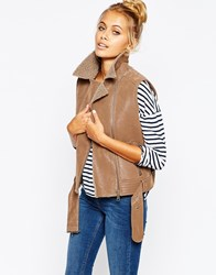 Barney's Originals Biker Gilet With Borg Lining Tan