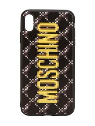 Moschino Logo Print Quilted Iphone Xs Max Cover Dark Grey