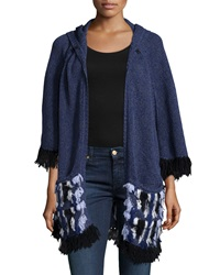 Nanette Lepore Embroidered Fringed Poncho W Hood