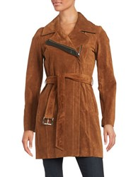Andrew Marc New York Suede Belted Coat Cognac