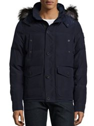Moose Knuckles Algoquin Silver Fox Fur Trim Quilted Jacket Midnight