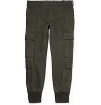Neil Barrett Cuffed Cotton Blend Sweatpants Green