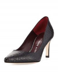 Etienne Aigner Laurel Snake Embossed Pointed Toe Pump Black