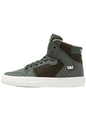 Supra Vaider Hightop Trainers Dark Olive White