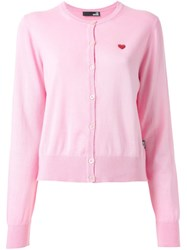 Love Moschino Heart Applique Cardigan Pink And Purple