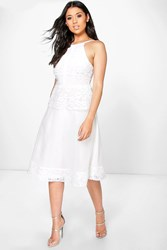 Boohoo Eva Crochet Panelled Strappy Midi Skater Dress Ivory