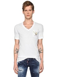 Dsquared Deer Printed Slub Cotton Jersey T Shirt