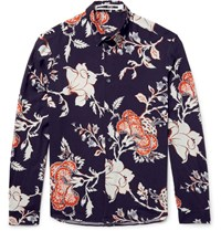 Mcq By Alexander Mcqueen Slim Fit Floral Print Voile Shirt Blue