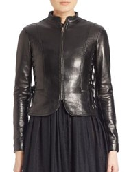 Red Valentino Side Lace Tie Leather Jacket Black