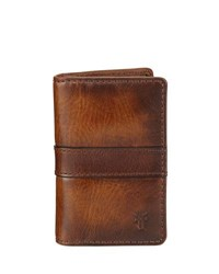 Frye Oliver Tall Leather Bi Fold Wallet Brown