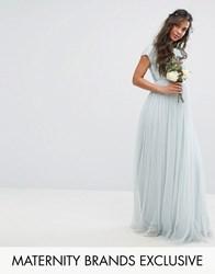 Maya Maternity Maxi Dress With Delicate Sequin And Tulle Skirt Mint Green