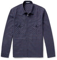 Tomas Maier Checked Cotton And Linen Blend Zip Up Overshirt Storm Blue