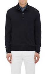 Barneys New York Men's Wool Mock Turtleneck Sweater Navy