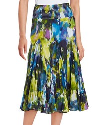 Context Paint Splattered Tiered Skirt Blue Multi