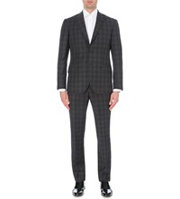 Hardy Amies Brinsley Fit Mini Check 3 Piece Wool Suit Charcoal