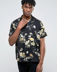 Asos Viscose Shirt In Floral Print With Revere Collar In Oversized Fit Black