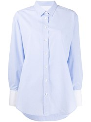 Closed Buttoned Loose Shirt Blue