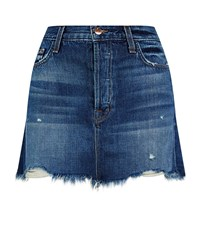 J Brand Bonny Distressed Denim Mini Skirt Female Blue