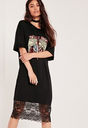 Missguided Rose Skull Motif T Shirt Dress Black Grey