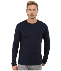 Michael Kors Long Sleeve Micro Stripe Crew Midnight Men's Long Sleeve Pullover Navy