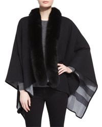 Burberry Fox Fur Trimmed Merino Cape Charcoal