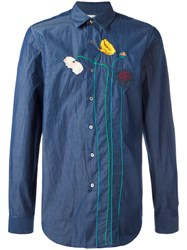Paul Smith Flower Stem Embroidered Shirt Blue