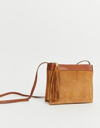 Warehouse Suede Crossbody Bag With Tassel In Tan