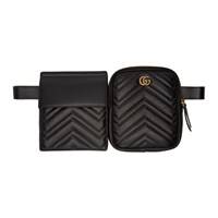 Gucci Black Double Quilted Pouch Belt