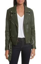 Veda Women's Jayne Orion Lambskin Leather Moto Jacket Green