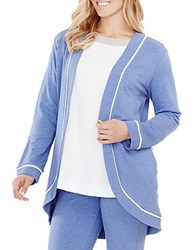 Carole Hochman French Terry Open Cardigan Blue