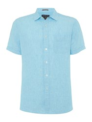 Howick Men's Richmond Short Sleeved Plain Linen Shirt Turquoise