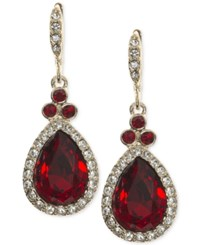 Givenchy Gold Tone Faceted Teardrop Drop Earrings Red