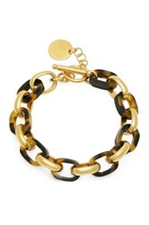 Simulated Tortoise Shell Link Bracelet Metallic