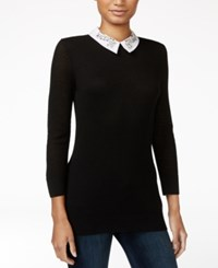 Maison Jules Embellished Collar Sweater Only At Macy's Deep Black