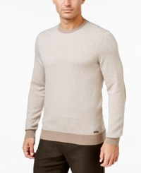 Tasso Elba Men's Jacquard Sweater Only At Macy's Pearl Taupe