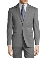 Neiman Marcus Two Button Modern Fit Suit Grey Herringbone