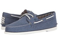 Sperry A O 2 Eye Washed Navy 2 Lace Up Moc Toe Shoes