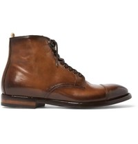 Officine Creative Emory Cap Toe Leather Boots Brown