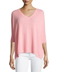 Minnie Rose Cashmere 3 4 Sleeve V Neck Boyfriend Sweater Pink Cadillac