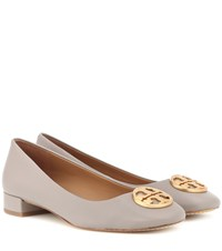 Tory Burch Chelsea Heeled Leather Ballet Flats Grey