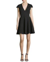 Halston Cap Sleeve V Neck Fit And Flare Dress Black