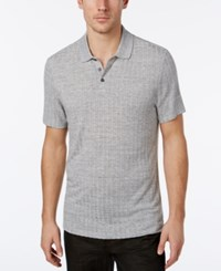 Alfani Men's Stretch Stripe Polo Classic Fit Shadow Heather