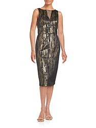 Js Collection Novelty Slim Fit Sleeveless Dress Black Gold