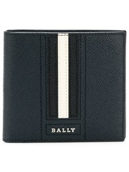 Bally Stripe Detail Logo Wallet Blue
