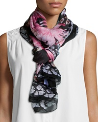 Givenchy Paradise Flowers Silk Scarf Black Pink