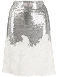 Paco Rabanne Sequin Fitted Skirt Silver
